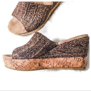 Volatile Thick Woven Brown Slip On Wedges Sz 7